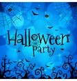 Blue Halloween invitation cover template vector image