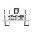 bookshelf on wall icon black and white vector image vector image
