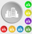 Buildings icon sign Symbol on eight flat buttons vector image vector image
