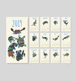 calendar with tribal australian animals for year vector image vector image