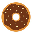 chocolate donut on white background vector image vector image