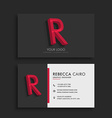 clean dark business card with letter R vector image