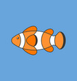 clown fish outline icon with filled color vector image