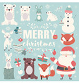 Collection of Christmas animals Santa Claus vector image