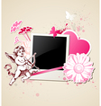 Decorative background with photo and Cupid vector image