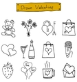 Drawn valentine of icons collection vector image