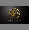 e golden letter logo design with circle swoosh vector image vector image
