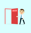 employee walk and open red door with new job text vector image vector image