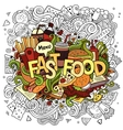 Fast food hand lettering and doodles elements vector image vector image