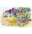Felt-tip pen autumn rural landscape vector image vector image