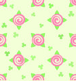 flower pattern - roses and shamrocks seamless vector image