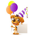 funny clown dog holding balloons and blank paper vector image vector image