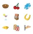 Gambling icons set cartoon style vector image vector image