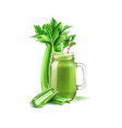green smoothie in mason jar with straw vector image vector image