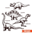 Hand drawn dinosaurs set black doodle vector image vector image