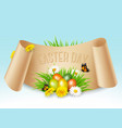 happy easter background colorful eggs on green vector image vector image
