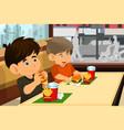 kids eating hamburger and fries vector image vector image