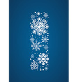 Letter I font frosty snowflakes vector image