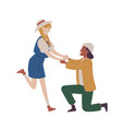 man kneeling proposing woman marry him marriage vector image vector image