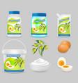 mayonnaise package mockup set realistic vector image vector image