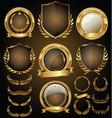 medieval golden shields laurel wreaths and badges vector image
