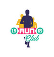run club logo estd 1965 emblem with abstract vector image vector image