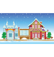 santa house and ice castle vector image vector image