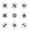 set of 9 editable mechanic icons includes symbols vector image vector image