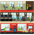 set of factory posters banners in flat vector image vector image