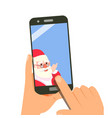 smart phone with santa merry christmas and vector image