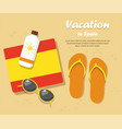 spain travel flip flops in the sand with towel vector image