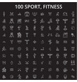 sport fitness editable line icons set on vector image vector image