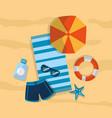 summer swimsuit umbrella beach sunglasses sunblock vector image