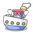 super hero ship character cartoon style vector image
