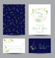 wedding invitation floral templates set vector image vector image