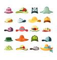 wide brimmed hats and caps set stylish baseball vector image vector image
