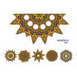 set of colorful mandalas decorative round vector image