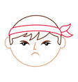 cartoon face angry chinese man vector image