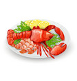 Lobster On Plate vector image