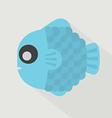 Flat Design Blue Fish Icon vector image