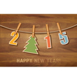 2015 with a christmas tree on wooden background vector image vector image