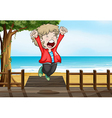 A boy jumping happily in the bridge vector image vector image