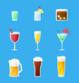 a set different alcoholic glasses vector image