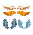 angel gold and blue wings collection gorgeous vector image vector image