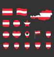 austria flag icons set symbols flag of vector image vector image