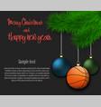 basketball ball hanging on a christmas tree branch vector image vector image