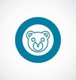 bear toy icon bold blue circle border vector image