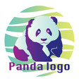 blue and purple panda inside blue green and white vector image vector image