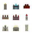 castles and towers icon set flat style vector image vector image