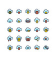 cloud computing filled outline icon set vector image vector image